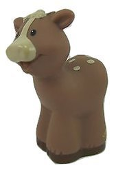 Fisher Price Little People Christmas Bible Nativity Farm Zoo Animal Replacement Small Tan Cow Calf 2002 - 1