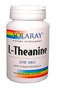 Solaray L-Theanine Supplement, 200 Mg, 45 Count