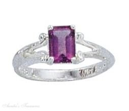 Sterling Silver Emerald Cut Amethyst Solitaire Ring Size 10