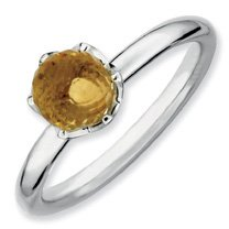 1ct Joyful Silver Stackable Citrine Briolette Ring Band. Sizes 5-10 Available