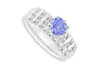 Tanzanite and Diamond Engagement Ring with Wedding Band Set : 14K White Gold - 0.65 CT TGW