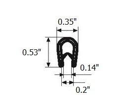 "White edge trim U seal | U height: 21/32"" , Grip range: 3/64"" - 5/32"" for hatches, lockers, metal doors, windows, cars, trucks, caravan and boats (Per Foot)"