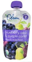 Plum Organics Baby Food Stage 2 Blueberry Pear and Purple Carrot -- 4 oz - 1
