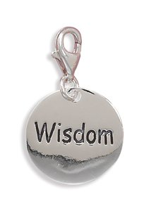 Polished Sterling Silver Wisdom Charm with Lobster Clasp