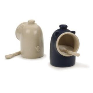 Oatmeal Stoneware Salt Pig And Spoon Salt Keeper front-628521