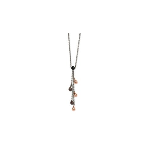 Stainless Steel Rose Gold & Brown Teardrops 20in Y Necklace