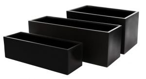 Fibreglass Trough Planter - Matt Black - Large