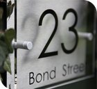 Modern/Contemporary Acrylic/ House Number/Sign/Plaque/ Your Name/Number/Street (Brushed Aluminium Composite) Oblong Clear
