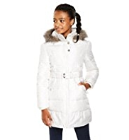 Hooded Faux Fur Trim Padded & Belted Long Coat