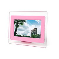 "TeckNet 7"" Widescreen Digital Photo Frame - With MP3/MP4 Feature, Speaker and Remote Control- Pink"