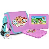 Ematic Nickelodeons Paw Patrol Theme 7-Inch Portable DVD Player with Headphones and Travel Bag, Pink (Color: Pink)