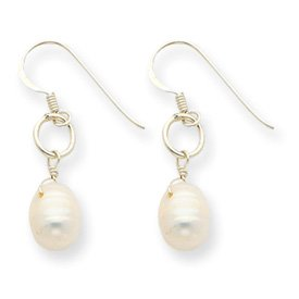 Sterling Silver Freshwater Cultured Two Pearl Dangle Earrings