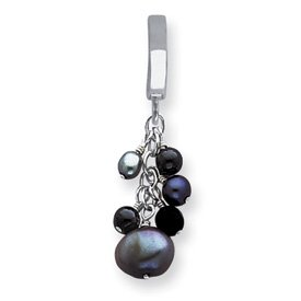 Sterling Silver Gray Cultured Pearls & Onyx Dangle Tummy Toy - QE2013TUT