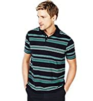 Blue Harbour Pure Cotton Multi Feeder Striped Polo Shirt