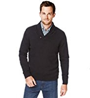XXXL Blue Harbour Pure Cotton Shawl Collar Jumper