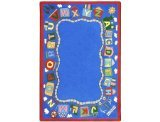 Joy Carpets Kid Essentials Language & Literacy Round Reading Train Rug, Multicolored, 13'2""