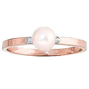 QP Jewellers Natural Diamond & Pearl Ring in 9ct Rose Gold, 1.0ct Round Cut - 1181R