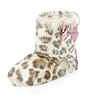 Faux Fur Leopard Print Bow Boot Slippers