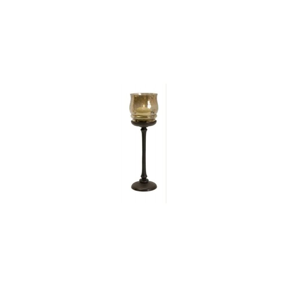 Large Iron and Iridescent Champagne Colored Glass Votive Candle Holder 14