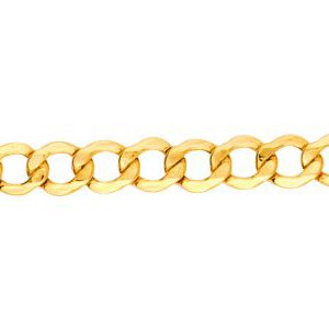 10K Solid Yellow Gold Curb Lite Chain Necklace 4.4mm thick 24 Inches
