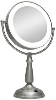 Zadro 12X Mag Next Generation Led Double Sided Round Vanity Mirror, 11-Inch, Satin Nickel Finish front-759154