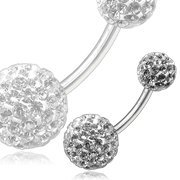 Titanium / White Crystal Belly Bar, with 1 x 6mm and 1 x 8mm Crystal Set Bead
