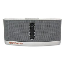 SPRACHT Products - Wireless Speaker W/Bluetooth, 4 Watt, Silver - Sold as 1 EA - Aura BluNote is a portable wireless speaker system that streams music wirelessly from any A2DP Bluetooth-enabled device within 33'. Listen to your saved music from your Bluet