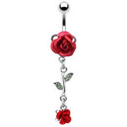Red Rose Dangle Belly Bar