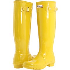 hunter tall gloss rain boots vintage yellow size 7