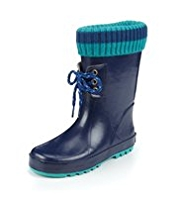 Ribbed Trim Welly Boots