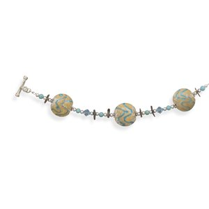 Lampwork Glass, Abalone Shell Chips and Turquoise Bead Fashion Bracelet