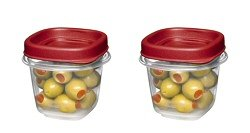 Rubbermaid Square Food Storage Container 1/2 Cup Clear Base 2 / Pack
