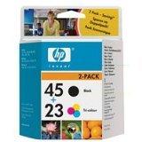 HP Hewlett Packard 45 & 23 colour & black ink cartridge