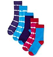 5 Pairs of Cotton Rich Tie Dye Socks