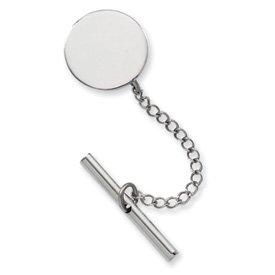 Rhodium-plated Round Polished Tie Tack - JewelryWeb
