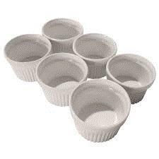 Om Joy Collection Medium Porcelain Ramekins Dish Set- 4 oz capacity each (6)