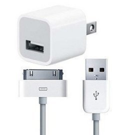 New OEM Apple iPhone 3G/3GS/4, and iPod USB Wall Charger with Sync Cable