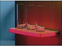 LED-Regal rot – Regal in weißer Milchglasoptik wird mit 12 roten LEDs beleuchtet