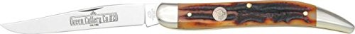 Queen Large Toothpick Fold Knife, D2 Tool Steel Long Clip Blade, Aged Honey Amber Stag Bone 2008A