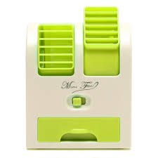 Mini Summer Small USB Switch Battery Cold Fan Cooling Portable Desktop Notebook Dual Bladeless Air Conditioner (Color- Green)