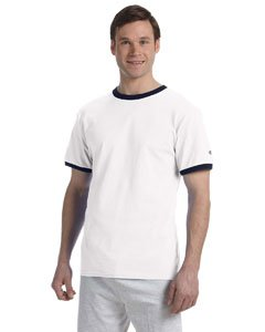Champion Men's Tagless Short-Sleeve Ringer T-Shirt, white/navy, Large