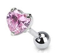 16g Surgical Steel Cartilage Earring Stud Body Jewelry Piercing with Pink Cubic Zirconia Heart 16 Gauge Nemesis Body JewelryTM