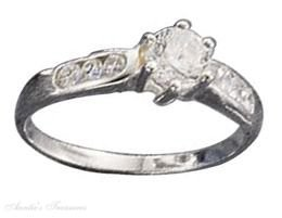 Sterling Silver 3 Stone Cubic Zirconia Ring Size 7