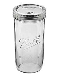 Ball Jar with Lid and Band - Pick Your Size and Color (Clear, Wide Mouth Pint & Half - 24 oz.)