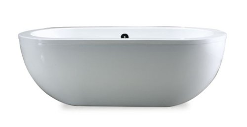 Big Save! OVE Serenity 71-Inch Freestanding Acrylic Bathtub, Glossy White
