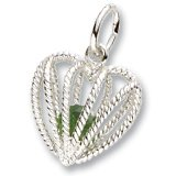 Rembrandt Charms May Birthstone Heart Charm, Sterling Silver