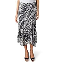 Per Una Monochrome Spotted Crinkle Long Skirt