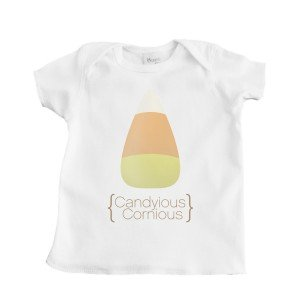 "Halloween Candy Corn ""Canyious Cornious"" Baby White Cotton T Shirt"