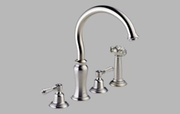 Brizo 62301SSLHP Stratford Two Handle Kitchen Faucet with Spray  Less Handles  Stainless