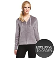 M&S Collection Cotton Rich Hooded Zip Through Velour Sweat Top